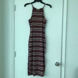Burgundy and white striped midi dress